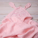 bamboo swaddling muslin - baby swaddle - pink bunny
