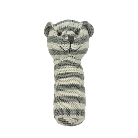 Knitted Rattle - Grey and white bear
