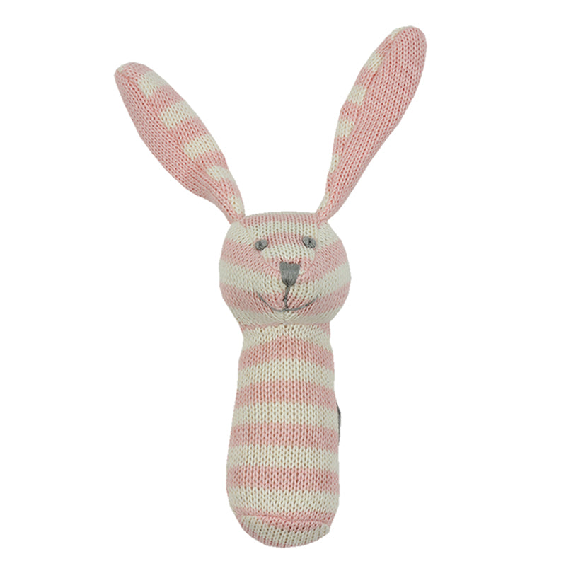 Knitted Rattle - Pink and white bunny