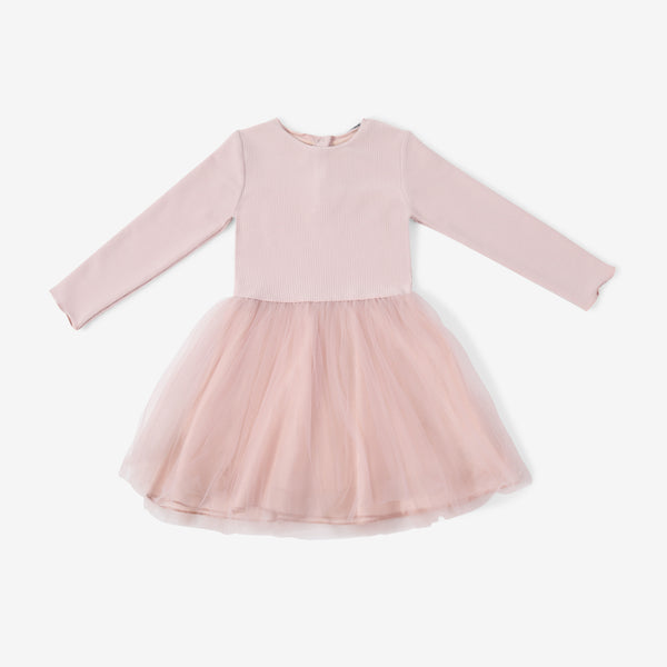 Girl's Tutu Dress - Pink Ribbed - 2y-5y