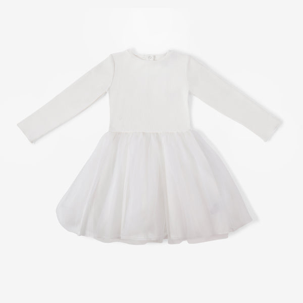 Girl's Tutu Dress - Cream Ribbed - 2y-5y