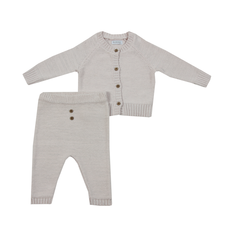 Baby Girl's Knitted Cardigan and Trouser Set - Pale Pink - 0-3m