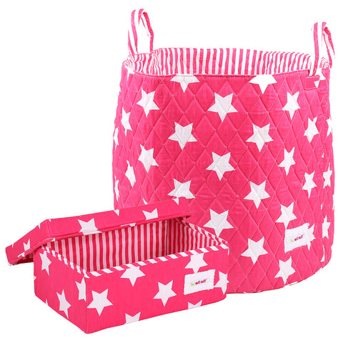 Storage Basket Set - Pink Stars