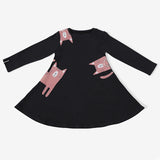 Girl's Dress - Black Cat - 2y-5y