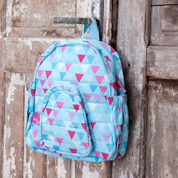 Little Kid's Backpack - Blue and Pink Triangles