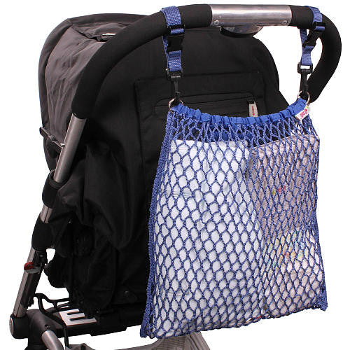 Blue stroller net bag - for extra pushchair storage