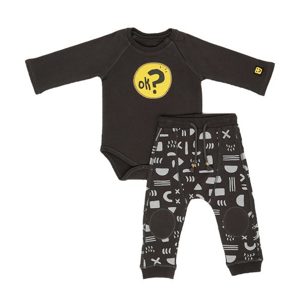 Bodysuit and Trouser Set - OK - Grey and Yellow