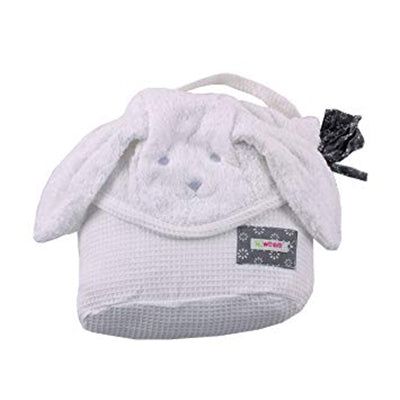 Large Hooded Towel - White Pup