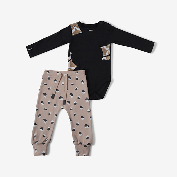 Baby Clothing - bodysuit and trousers - grey fox - 0-3m - 18-24m