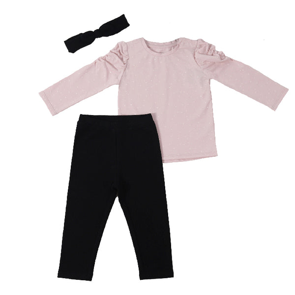 baby girl outfit - pink top and black leggings