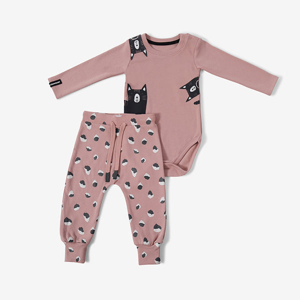 Baby Clothing - bodysuit and trousers - pink cat - 0-3m - 18-24m