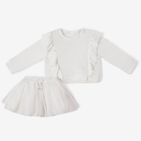 Baby Clothing - ruffle top and skirt -  white - 6-12m - 18-24m