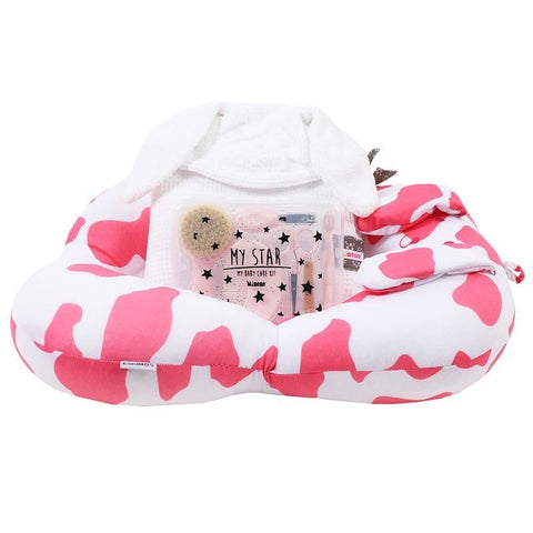 New Baby Bath Set - White and Pink Pup