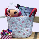 little toy basket for dolls and books blue floral