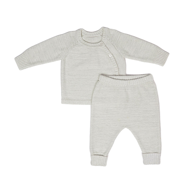 Baby's Knitted Cardigan and Trouser Set - Pale Cream Sparkle