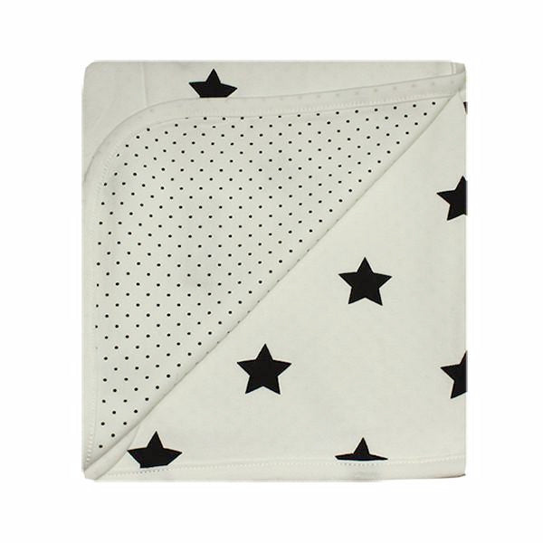 Luxurious Cotton Baby Blanket - Reversible cream with black stars and dots