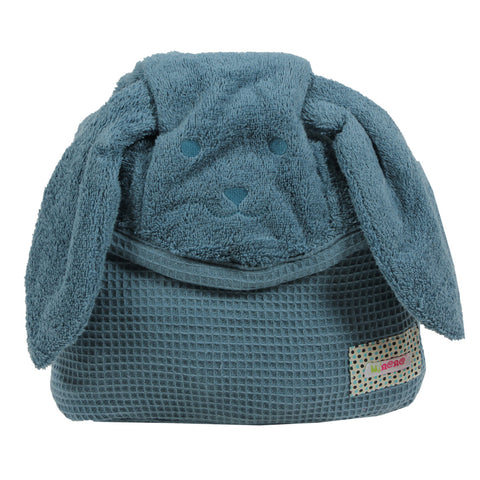 Hooded Cotton Robe- Blue Pup - Small and Medium