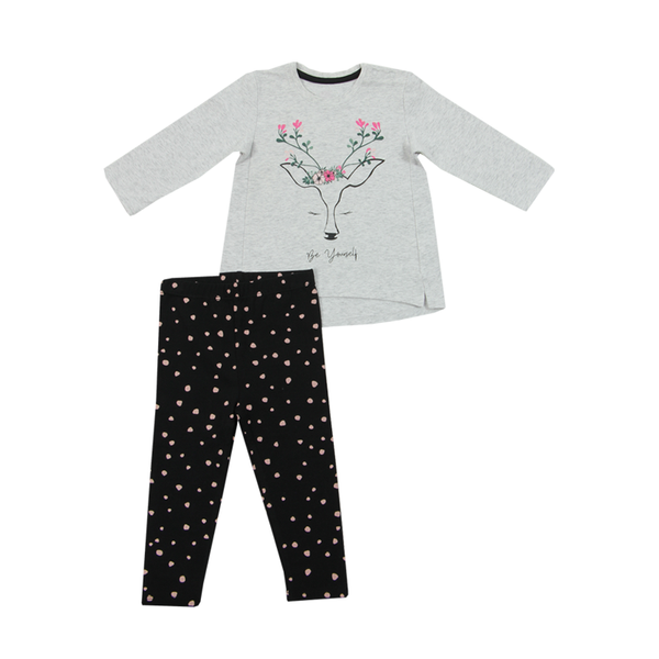 girls top and leggings set -flowers, spot and deer print - 9-12 months to 18-24 months