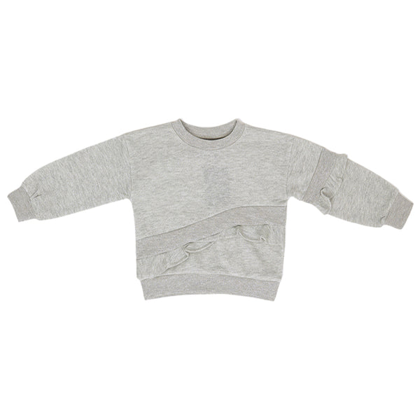 CLEARANCE -Frilled Sweatshirt - Grey Sparkle - 2-7y