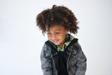 Hooded Top - Black and Neon - 2-7y