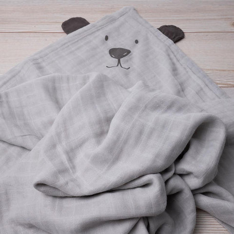 Bamboo Muslin Blanket - Grey bear