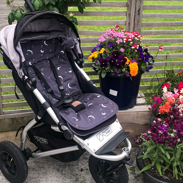 Cotton Pram Liner - Dark Grey and silver 🌑