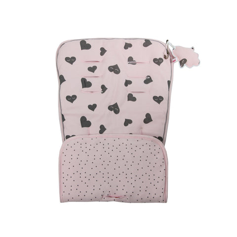 Jersey Cotton Stroller Liner - pink with grey hearts