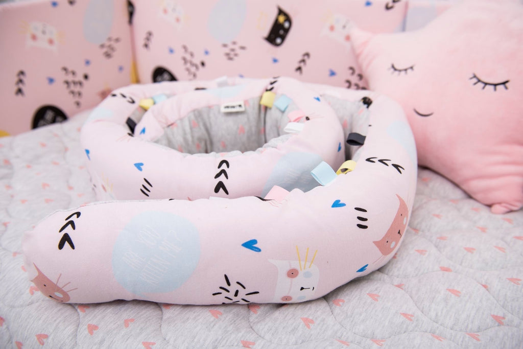 Snugly Snake- tummy Time and Decor Accessory - Colourful cats