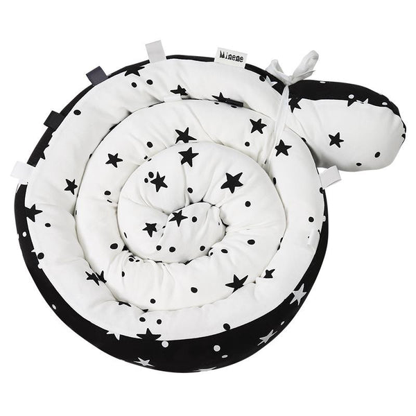 Snugly Snake - Tummy Time and Decor - Black Stars