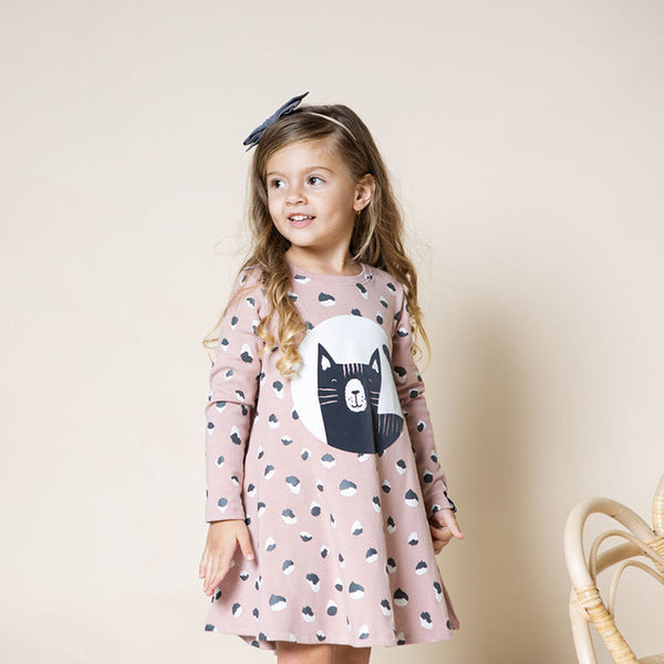 Girl's Dress - Pink Cat - 2y-5y