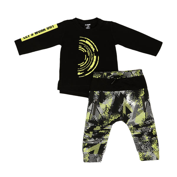 Top and Pant Set - Black and Neon - 6-12m - 2years