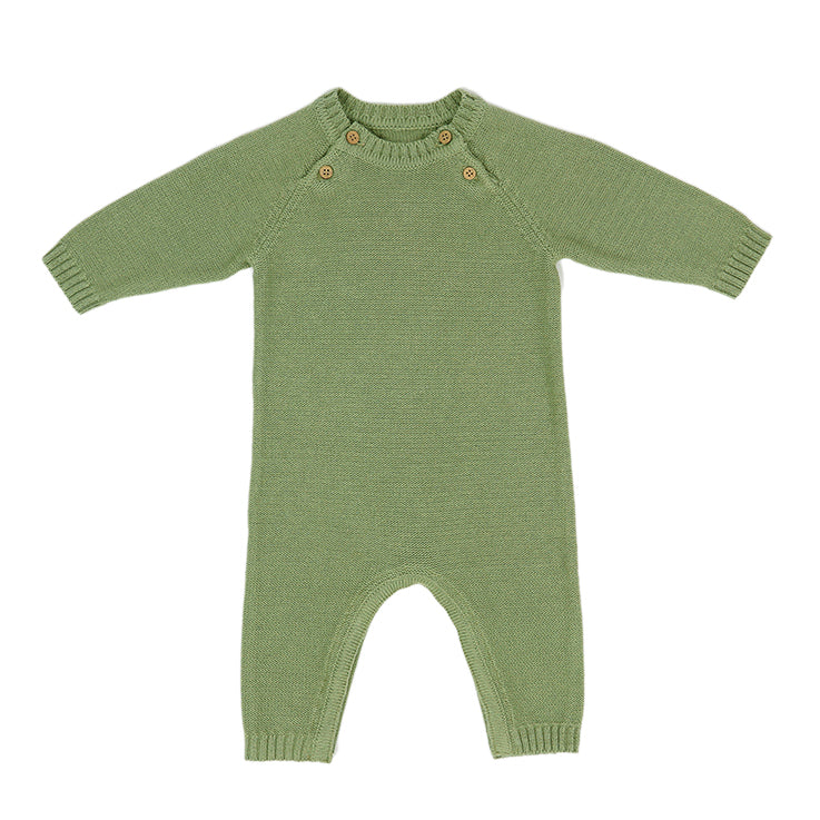 Knitted All in One - Olive Green - NB -3-6m