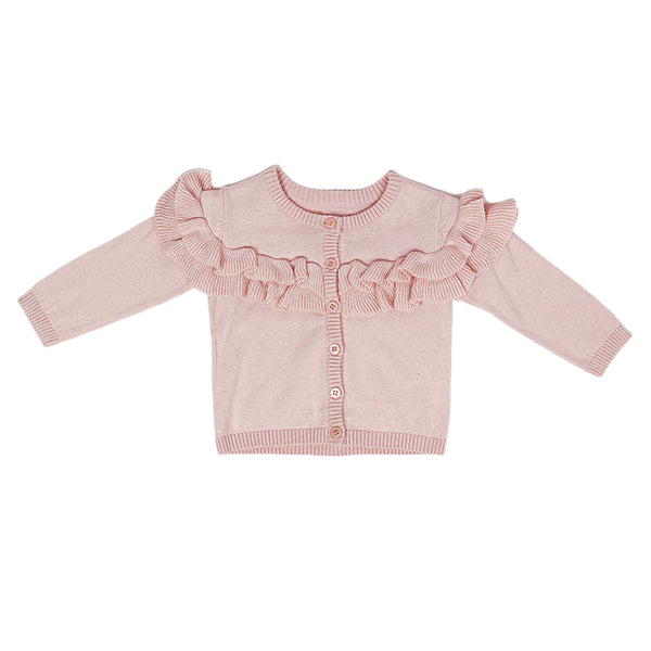 Knitted Cardigan - Pink Frills