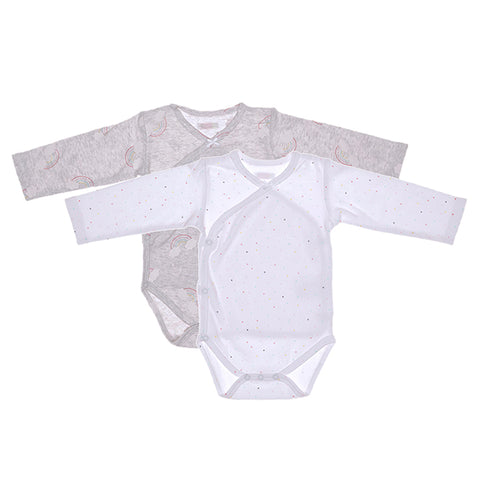 Baby Bodysuit Set - Rainbows - Grey and White