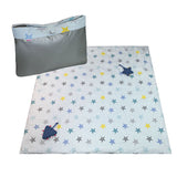 Minene Portable Activity Blanket - Grey, blue and yellow stars