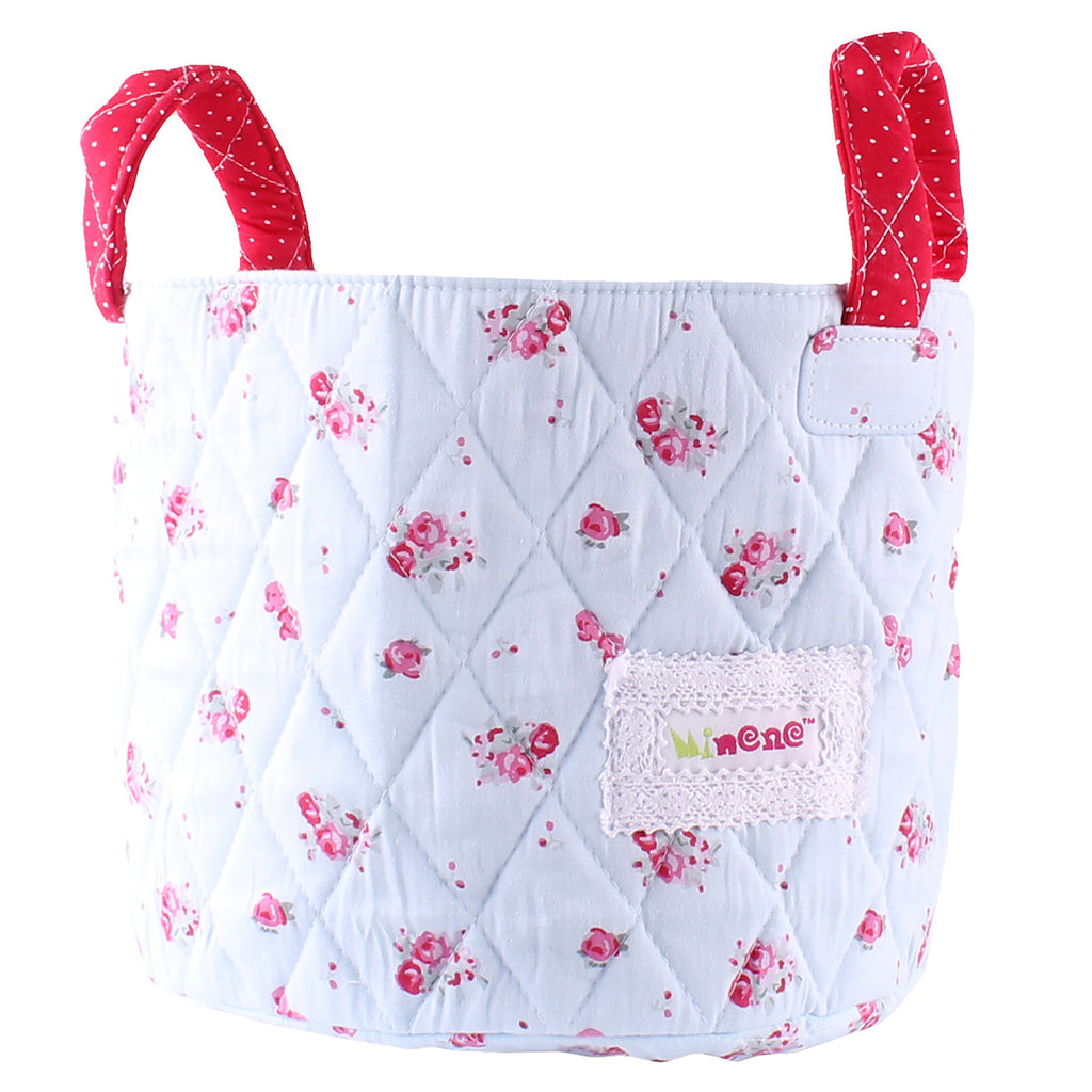 blue floral small storage basket for little girls