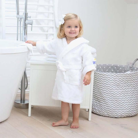 Hooded Cotton Robe- White Pup - Small and Medium