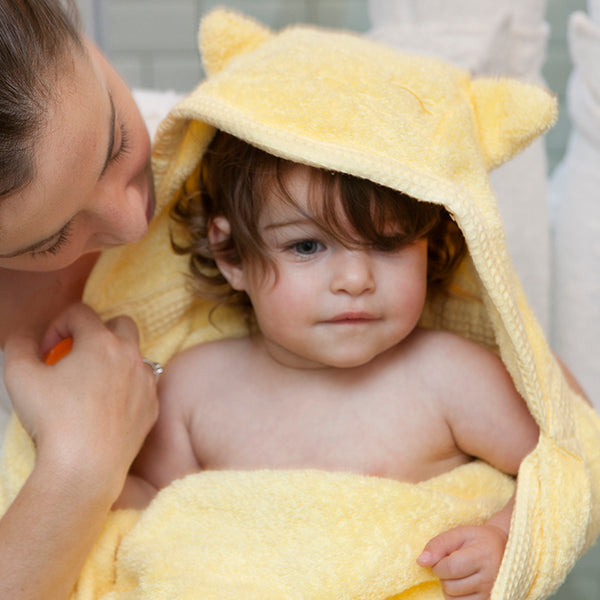 luxurious hooded towel - hooded - yellow cat