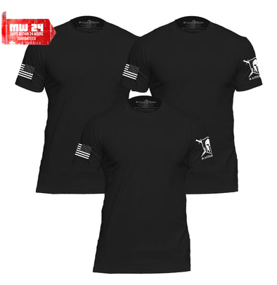 WARRIOR PATRIOTIC BASIC MEN BLACK T-SHIRTS - 3 PACK - MasterWorks Clothing Co.