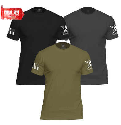 WARRIOR PATRIOTIC BASIC PREMIUM MEN T-SHIRTS - 3 PACK - MasterWorks Clothing Co.