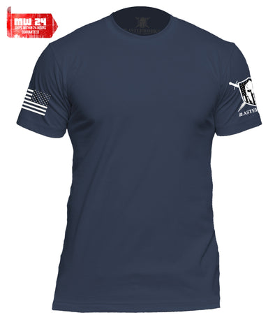 WARRIOR PATRIOTIC BASIC PREMIUM MEN T-SHIRT - MIDNIGHT NAVY - MasterWorks Clothing Co.