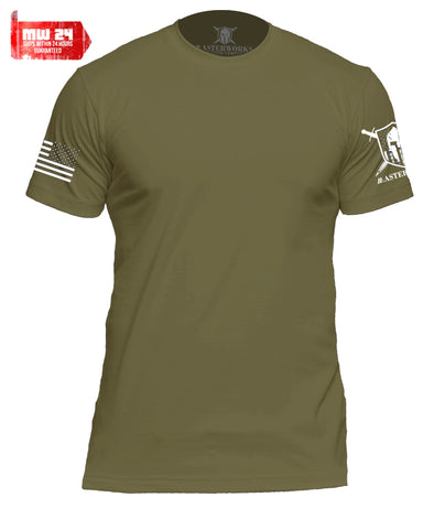 WARRIOR PATRIOTIC BASIC PREMIUM MEN T-SHIRT - MILITARY GREEN - MasterWorks Clothing Co.