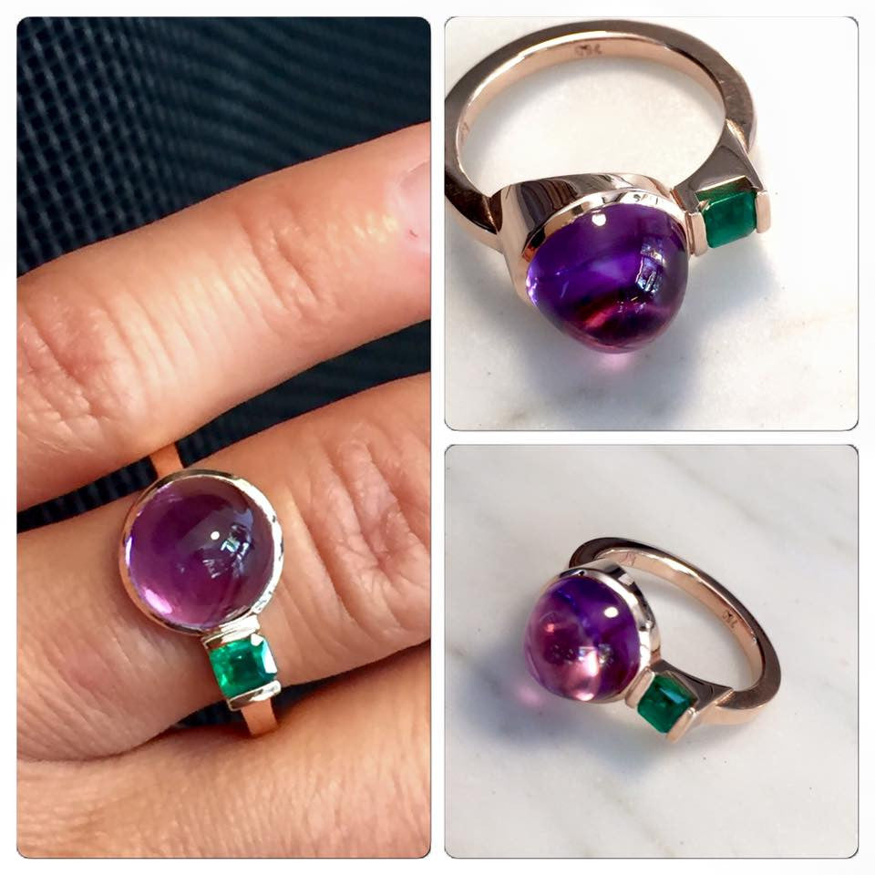 Amethyst and emerald create a burst of colour