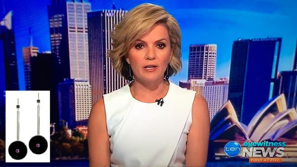 Waldorf earrings worn by Sandra Sully on Ten News