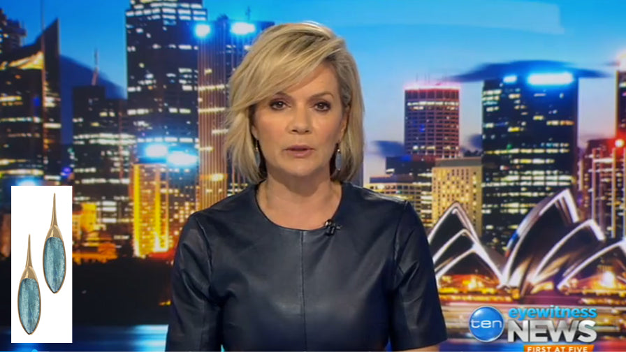 Sandra Sully in our Aqua earrings
