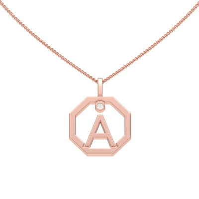 Personalised-Initial-A-diamond-rose-gold-pendant-by-Sydney-jewellers-Lizunova