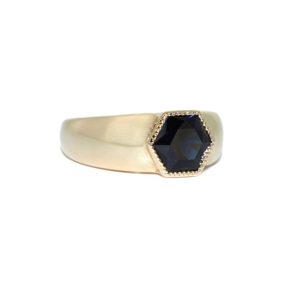 bespoke-wide-gold-engagement-ring-with-hexagon-sapphire-Sydney-jeweller-Lizunova-Fine-Jewels-Chifley-Square