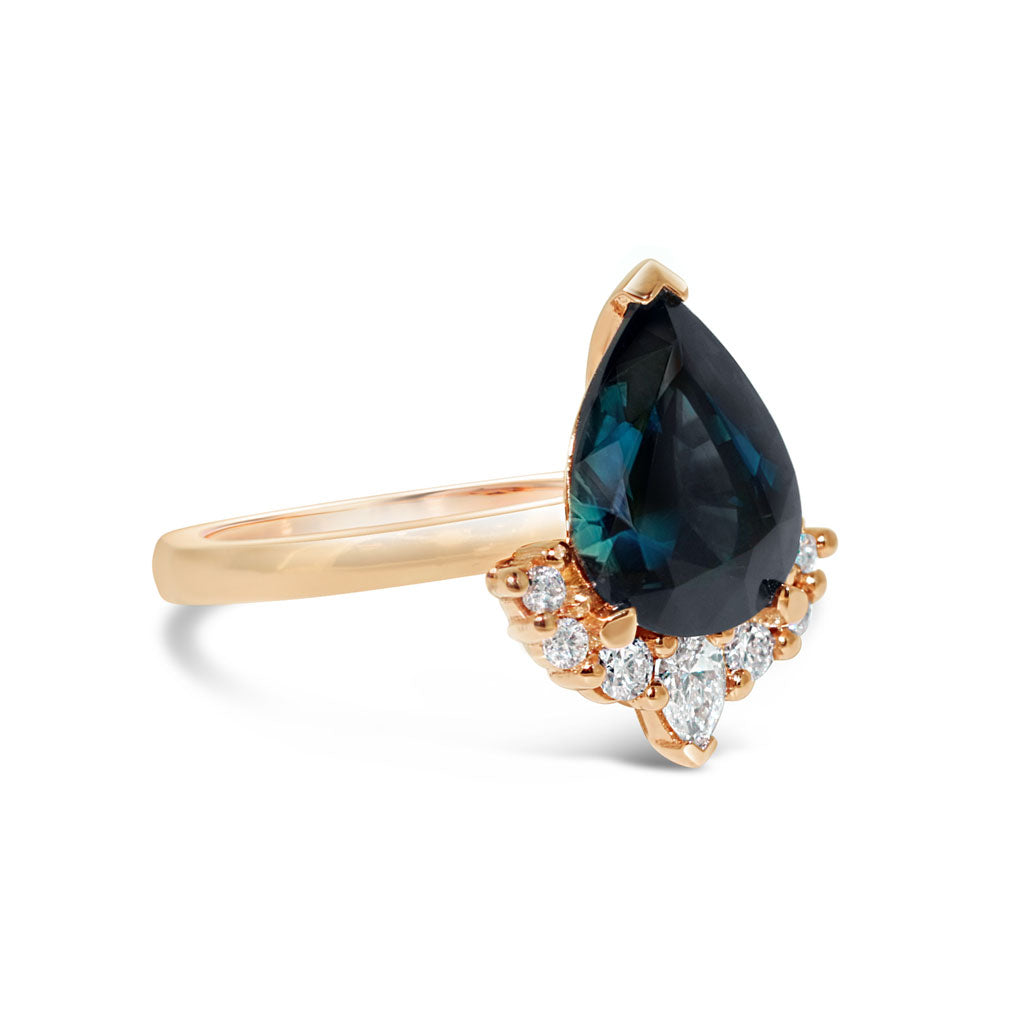 custom-sapphire-engagement-ring-rose-gold-diamond-halo-sydney-jeweller-lizunova-fine-jewels-chifley-square