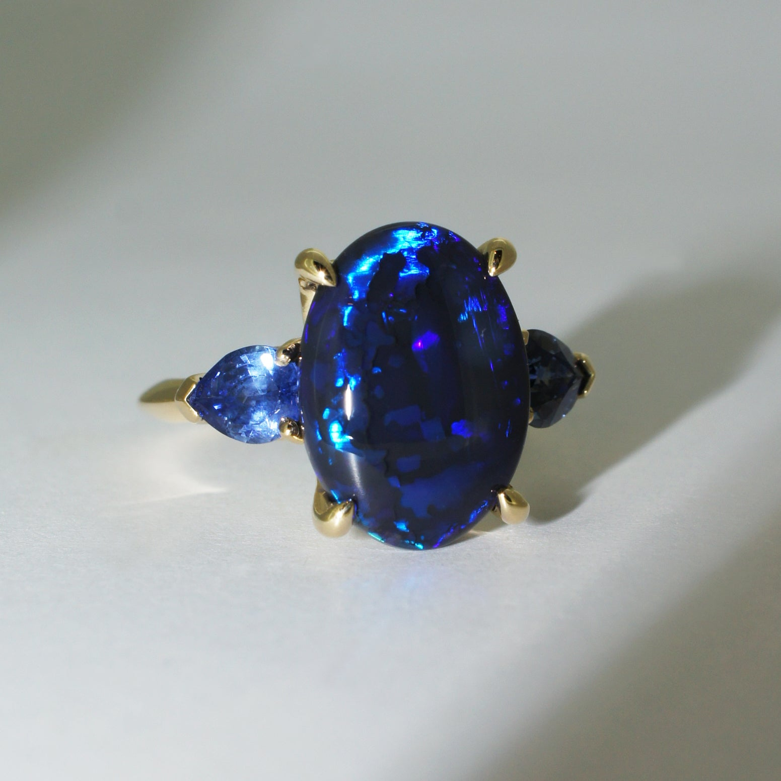 Custom-made-engagement-ring-Australian-black-opal-sapphires-by-Sydney-jeweller-Lizunova-Chifley-Square
