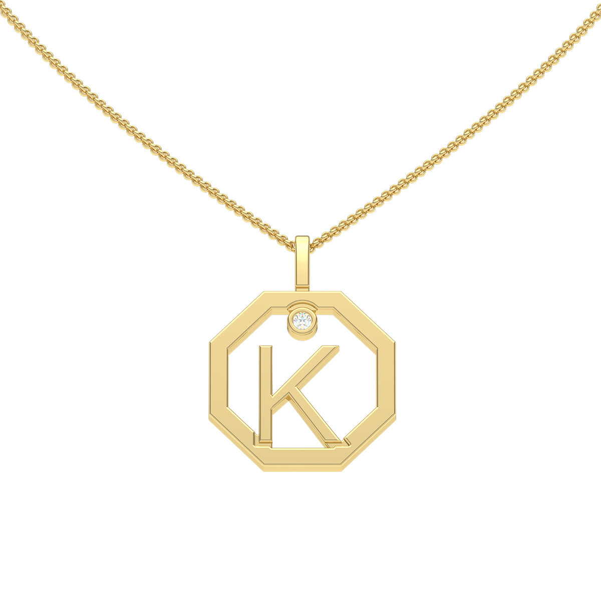 Initial k diamond pendant sydney jeweller lizunova fine jewels personalised initial k diamond yellow gold pendant by aloadofball Gallery